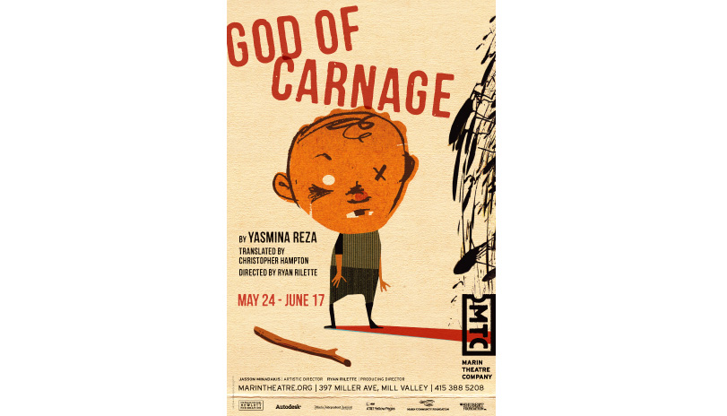 <strong style='color:black; font-style:normal;'>Marin Theatre Company</strong><br /><span style='color:black; font-style:normal;'>God of Carnage</span><br />Illustrator: Mick Wiggins